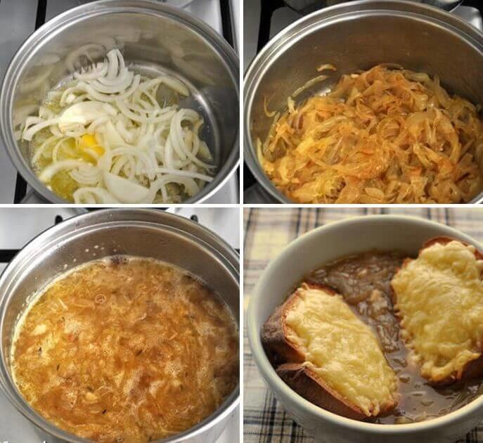 Пошаговый рецепт приготовления лукового супа