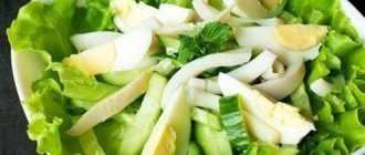 Салат с кальмарами и свежими огурцами: рецепты