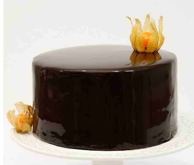 Глянцевый шоколадный торт