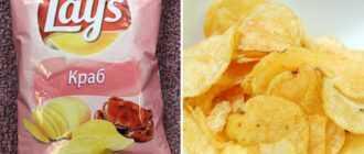 Чипсы с крабом: состав, марки, калорийность, польза и вред