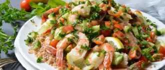 Салат с маринованными креветками: ингредиенты и рецепт приготовления