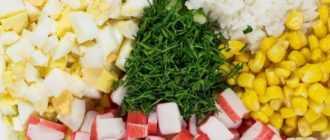 Простой рецепт салата из крабовых палочек с рисом